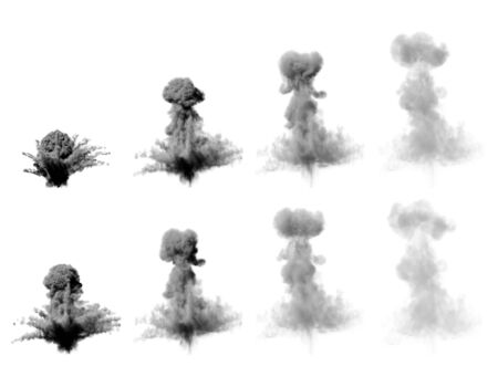a lot of images of large missile bang - dense mushroom cloud of heavy smoke isolated on white background - 3D illustration of objects Stock fotó