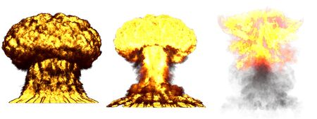 3 big high detailed different phases mushroom cloud explosion of nuke bomb with smoke and fire isolated on white - 3D illustration of explosion Stock fotó