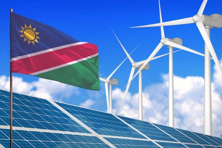 Namibia solar and wind energy, renewable energy concept with windmills - renewable energy against global warming - industrial illustration, 3D illustration