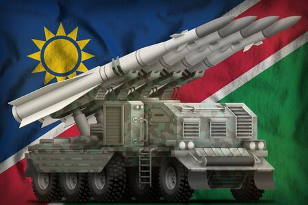 tactical short range ballistic missile with arctic camouflage on the Namibia flag background. 3d Illustration Stock fotó