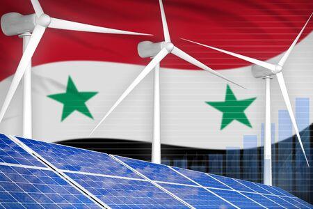 Syrian Arab Republic solar and wind energy digital graph concept  - environmental energy industrial illustration. 3D Illustration