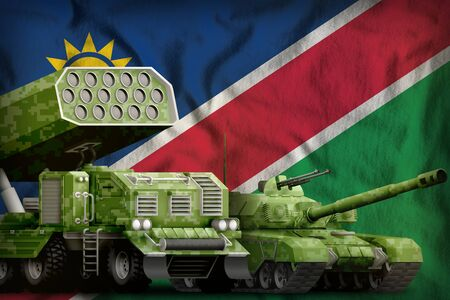 tank and missile launcher with summer pixel camouflage on the Namibia flag background. Namibia heavy military armored vehicles concept. 3d Illustration
