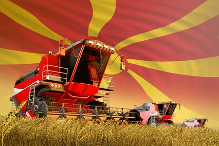 agricultural combine harvester working on grain field with Macedonia flag background, food production concept - industrial 3D illustration