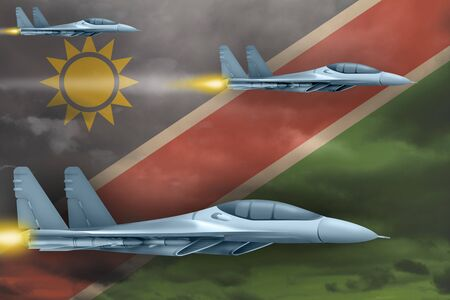 Namibia air strike concept. Modern war airplanes attack on Namibia flag background. 3d Illustration Stock fotó