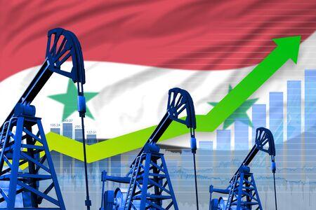 Syrian Arab Republic oil industry concept, industrial illustration - growing graph on Syrian Arab Republic flag background. 3D Illustration