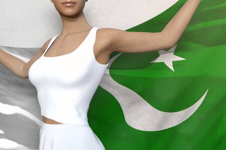 sexy girl is holding Pakistan flag in her hands behind her on the white background - flag concept 3d illustration
