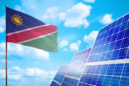 Namibia alternative energy, solar energy concept with flag - symbol of fight with global warming - industrial illustration, 3D illustration