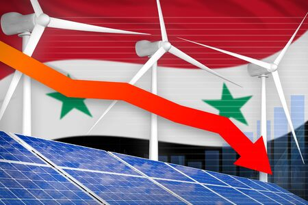 Syrian Arab Republic solar and wind energy lowering chart, arrow down  - alternative energy industrial illustration. 3D Illustration Stock fotó