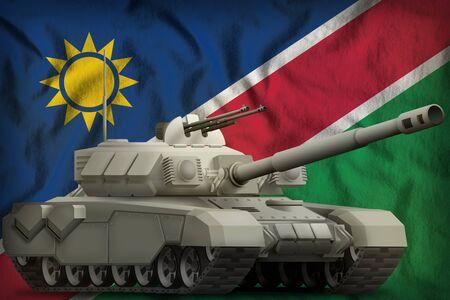 heavy tank on the Namibia flag background. 3d Illustration