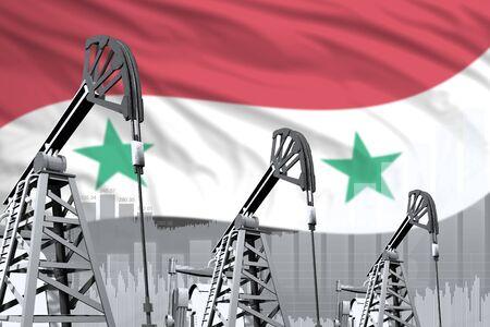 Syrian Arab Republic oil and petrol industry concept, industrial illustration on Syrian Arab Republic flag background. 3D Illustration Stock fotó