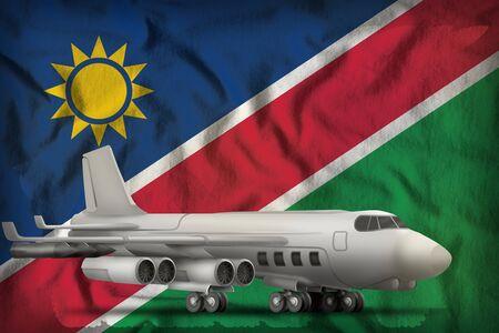 bomber on the Namibia flag background. 3d Illustration