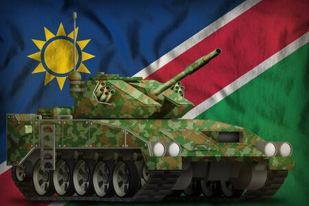 light tank apc with summer camouflage on the Namibia flag background. 3d Illustration