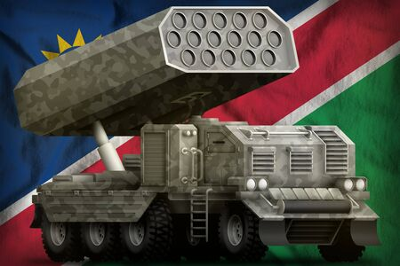 rocket artillery, missile launcher with grey camouflage on the Namibia flag background. 3d Illustration