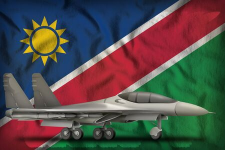 fighter, interceptor on the Namibia flag background. 3d Illustration