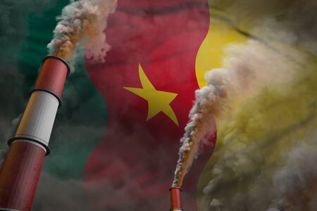Cameroon pollution fight concept - two huge industrial pipes with dense smoke on flag background, industrial 3D illustration