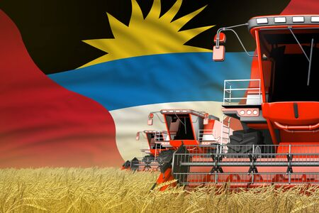 3 red modern combine harvesters with Antigua and Barbuda flag on farm field - close view, farming concept - industrial 3D illustration