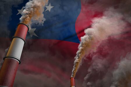 Samoa pollution fight concept - two huge plant chimneys with heavy smoke on flag background, industrial 3D illustration Stock fotó