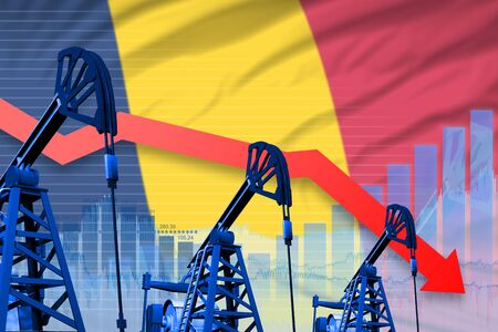 Chad oil industry concept, industrial illustration - lowering, falling graph on Chad flag background. 3D Illustration