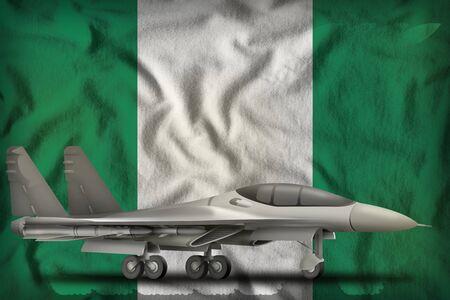 fighter, interceptor on the Nigeria flag background. 3d Illustration