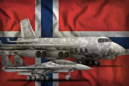air forces with grey camouflage on the Norway flag background. Norway air forces concept. 3d Illustration 免版税图像