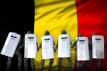 Belgium protest fighting concept, police guards protecting country against revolt - military 3D Illustration on flag background