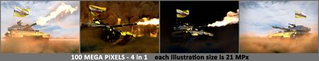 4 detailed pictures of heavy tank with not real design and with Brunei Darussalam flag - Brunei Darussalam army concept, military 3D Illustration Stok Fotoğraf