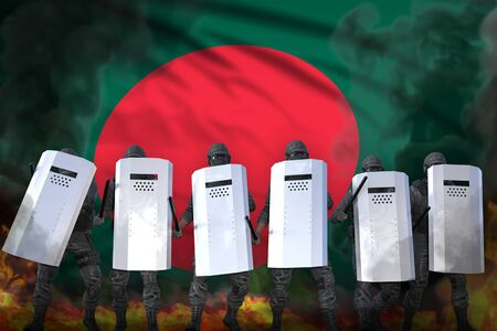 Bangladesh protest stopping concept, police swat in heavy smoke and fire protecting peaceful people against riot - military 3D Illustration on flag background Stok Fotoğraf