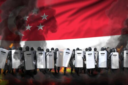 Singapore police guards in heavy smoke and fire protecting government against disorder - protest fighting concept, military 3D Illustration on flag background Stok Fotoğraf