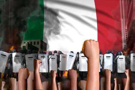 Protest in Italy - police squad stand against the protestors crowd on flag background, revolt fighting concept, military 3D Illustration