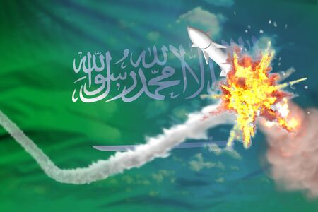 Saudi Arabia intercepted nuclear missile, modern antirocket destroys enemy missile concept, military industrial 3D illustration with flag