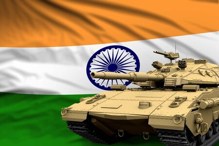 India modern tank with not real design on the flag background - tank army forces concept, military 3D Illustration