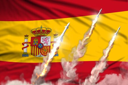 Spain nuclear missile launch - modern strategic nuclear rocket weapons concept on flag fabric background, military industrial 3D illustration with flag