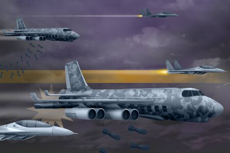 Nauru bomb air strike concept. Modern Nauru war airplanes bombing on flag background. 3d Illustration