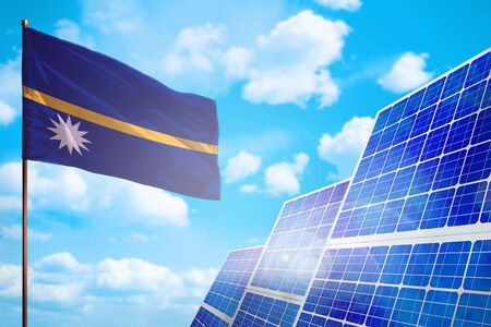 Nauru alternative energy, solar energy concept with flag - symbol of fight with global warming - industrial illustration, 3D illustration Banque d'images