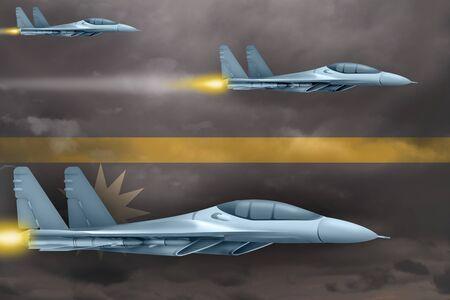 Nauru air strike concept. Modern war airplanes attack on Nauru flag background. 3d Illustration