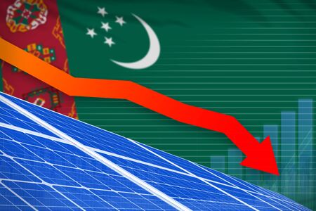 Turkmenistan solar energy power lowering chart, arrow down  - green energy industrial illustration. 3D Illustration Banque d'images