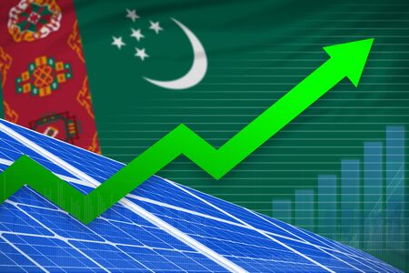 Turkmenistan solar energy power rising chart, arrow up  - environmental energy industrial illustration. 3D Illustration