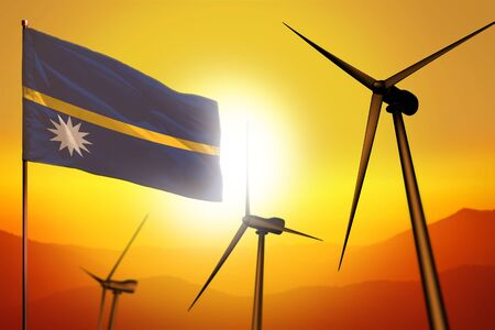 Nauru wind energy, alternative energy environment concept with turbines and flag on sunset - alternative renewable energy - industrial illustration, 3D illustration Stock fotó