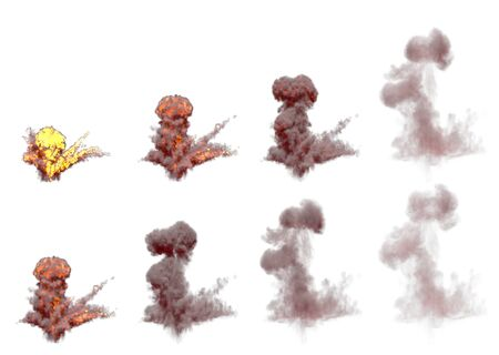 a lot images of huge air bomb burst mushroom cloud with fire and fume isolated on white background - 3D illustration of objects
