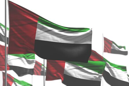 beautiful many United Arab Emirates flags are waving isolated on white - image with bokeh - any feast flag 3d illustration 스톡 콘텐츠