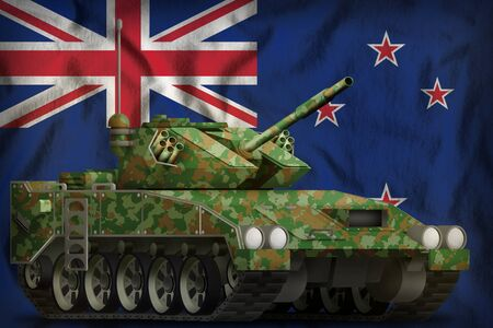 light tank apc with summer camouflage on the New Zealand flag background. 3d Illustration
