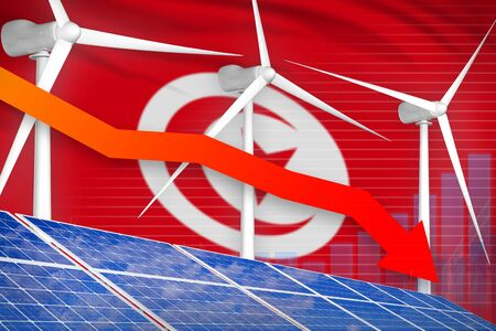 Tunisia solar and wind energy lowering chart, arrow down  - green energy industrial illustration. 3D Illustration