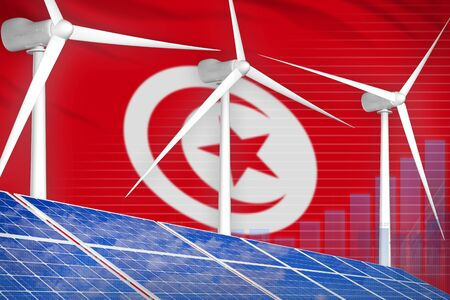 Tunisia solar and wind energy digital graph concept  - alternative energy industrial illustration. 3D Illustration