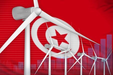 Tunisia wind energy power digital graph concept  - modern energy industrial illustration. 3D Illustration