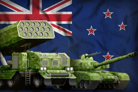 tank and missile launcher with summer pixel camouflage on the New Zealand flag background. New Zealand heavy military armored vehicles concept. 3d Illustration Imagens