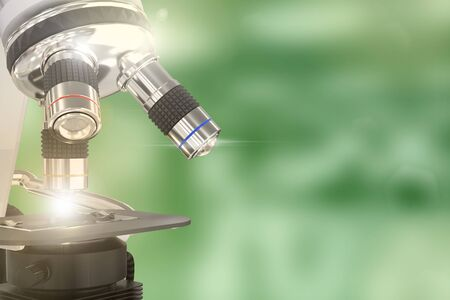 coronavirus analysis concept, object 3D illustration -  laboratory electronic scientific microscope with flare on selective focus background
