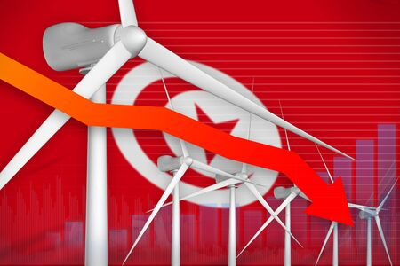 Tunisia wind energy power lowering chart, arrow down  - green energy industrial illustration. 3D Illustration 스톡 콘텐츠