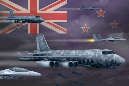 New Zealand bomb air strike concept. Modern New Zealand war airplanes bombing on flag background. 3d Illustration