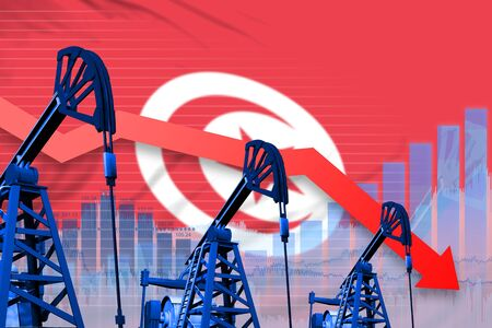 Tunisia oil industry concept, industrial illustration - lowering, falling graph on Tunisia flag background. 3D Illustration