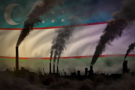 heavy smoke of plant chimneys on Uzbekistan flag - global warming concept, background with place for your logo - industrial 3D illustration
